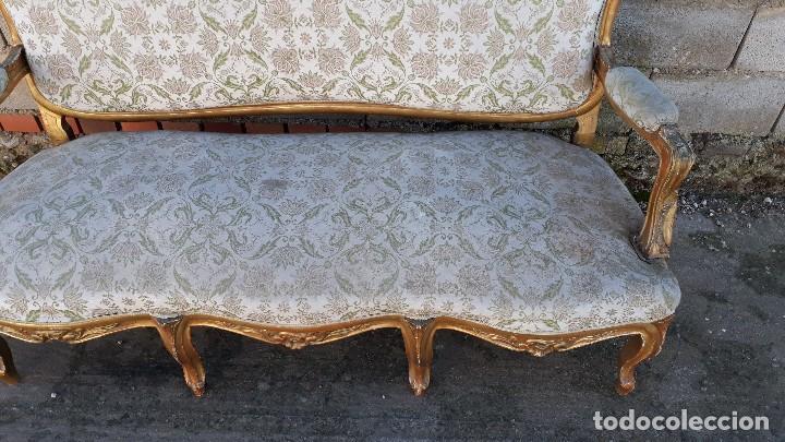 Antigüedades: Tresillo antiguo estilo Luis XV sofá antiguo + 2 sillones antiguos + 4 sillas antiguas retro vintage - Foto 14 - 109497279