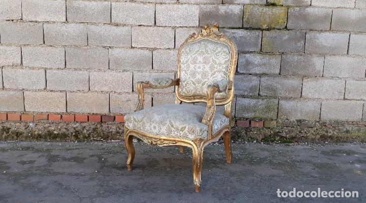 Antigüedades: Tresillo antiguo estilo Luis XV sofá antiguo + 2 sillones antiguos + 4 sillas antiguas retro vintage - Foto 15 - 109497279