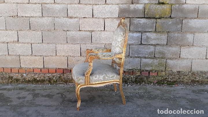 Antigüedades: Tresillo antiguo estilo Luis XV sofá antiguo + 2 sillones antiguos + 4 sillas antiguas retro vintage - Foto 19 - 109497279