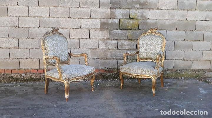 Antigüedades: Tresillo antiguo estilo Luis XV sofá antiguo + 2 sillones antiguos + 4 sillas antiguas retro vintage - Foto 22 - 109497279