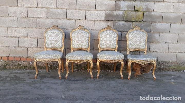 Antigüedades: Tresillo antiguo estilo Luis XV sofá antiguo + 2 sillones antiguos + 4 sillas antiguas retro vintage - Foto 23 - 109497279