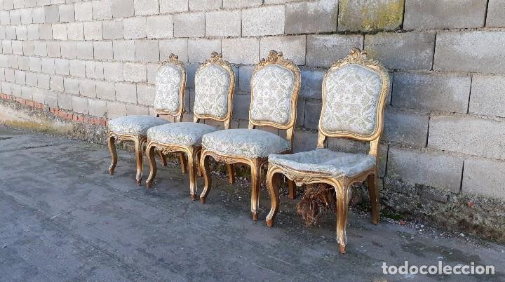 Antigüedades: Tresillo antiguo estilo Luis XV sofá antiguo + 2 sillones antiguos + 4 sillas antiguas retro vintage - Foto 24 - 109497279
