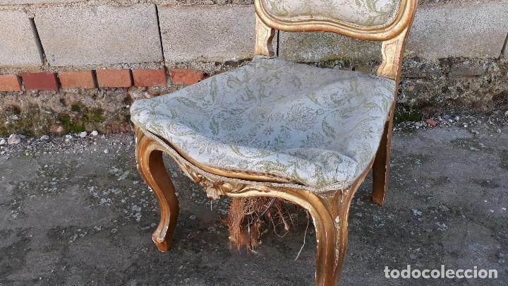 Antigüedades: Tresillo antiguo estilo Luis XV sofá antiguo + 2 sillones antiguos + 4 sillas antiguas retro vintage - Foto 33 - 109497279