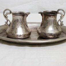 Antiquitäten - Vinajeras con bandeja. Plata siglo XVIII - 109499531