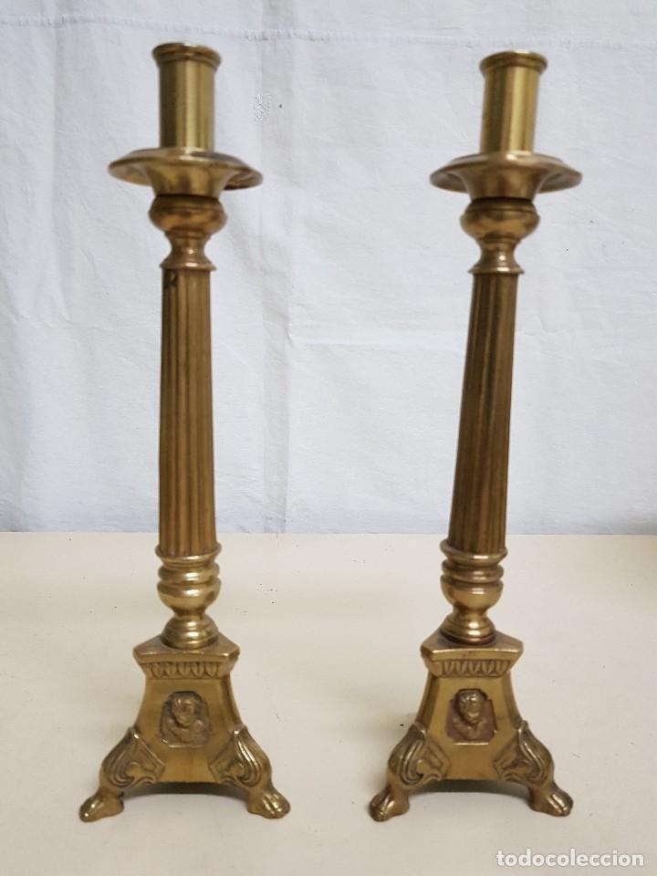 CANDELEROS BRONCE SIGLO XVIII-XIX (Antigüedades - Religiosas - Artículos Religiosos para Liturgias Antiguas)