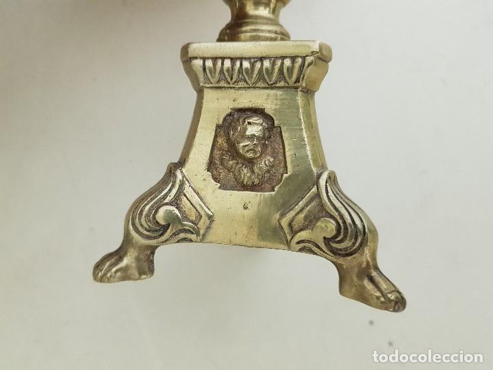 Antigüedades: Candeleros bronce siglo XVIII-XIX - Foto 7 - 109501679