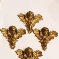 Antigüedades: CUATRO QUERUBES ALADOS DE BRONCE SIGLO XIX. Lote 109501859