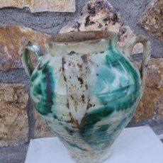 Antigüedades: ANTIGUA ORZA DE CERAMICA VIDRIADA ZONA GRANADA ALMERÍA CON 4 ASAS. Lote 109506351