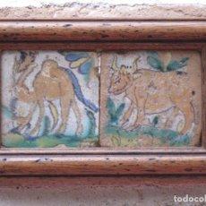 Antigüedades: LOTE DE DOS AZULEJOS ANTIGUOS DE SEVILLA. SIGLO XVIII. UNICOS.. Lote 109548291