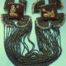 Antigüedades: ANTIGUO APLIQUE - COLLAR ART DECO PORCELANA Y CUENTAS DE CRISTAL PPIO.S.XX. Lote 109561479
