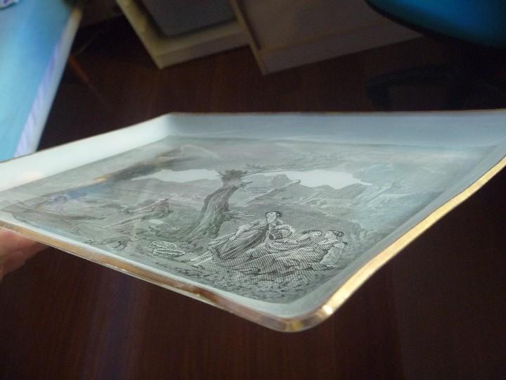 Antigüedades: ANTIGUA Y EXCLUSIVA BANDEJA CRISTAL LITOGRAFIADA ESCENA COSTUMBRISTA INGLESA - Foto 8 - 109570755