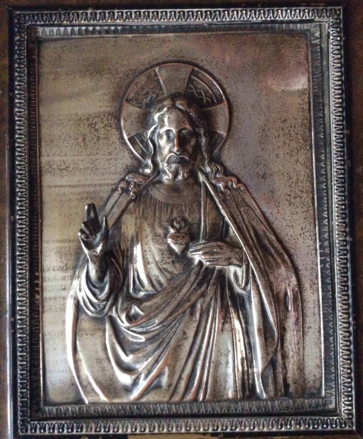 Antigüedades: ANTIGUA PLACA DE COBRE DEL SAGRADO CORAZÓN DE JESÚS EN RELIEVE Y CON BAÑO DE PLATA - Foto 5 - 109595351