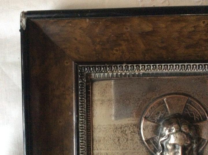 Antigüedades: ANTIGUA PLACA DE COBRE DEL SAGRADO CORAZÓN DE JESÚS EN RELIEVE Y CON BAÑO DE PLATA - Foto 7 - 109595351
