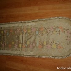 Antigüedades: TAPETE CON BORDADOS EN HILO CREO QUE DE SEDA.. Lote 109765159
