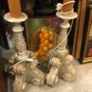 Antigüedades: TORCHEROS PARA IMAGENES DE ALTAR, EN PLATA. Lote 109900067