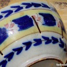 Antigüedades: BONITO Y ANTIGUO CUENCO DE CERÁMICA - MANISES - RECIPIENTE HONDO - DECORADO A MANO Y LAÑADO - RARO. Lote 109931771