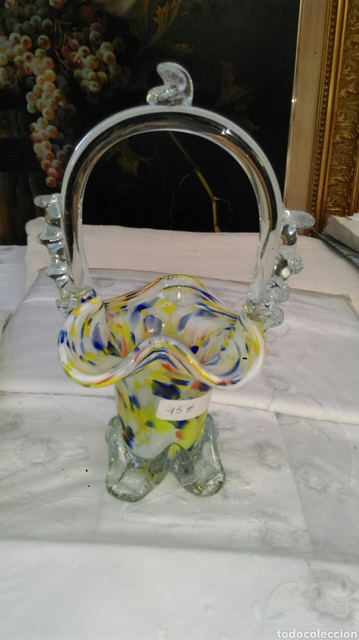 CESTA DE MURANO (Antigüedades - Cristal y Vidrio - Murano)