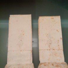 Antigüedades: PAREJA DE FUNDAS DE ALMOHADA DE LINO CON ENCAJE. Lote 110044824