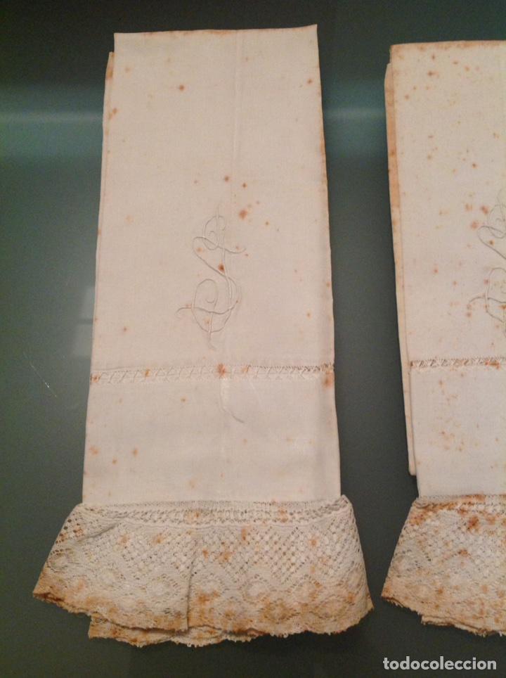 Antigüedades: Pareja de fundas de almohada de lino con encaje - Foto 2 - 110044824