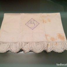 Antigüedades: FUNDA DE ALMOHADA ANTIGUA CON ENCAJE. Lote 110052208