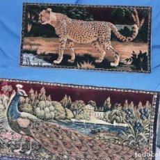 Antigüedades: LOTE 2 ANTIGUOS TAPICES EN COLORES CALIDOS. Lote 110057119