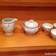 Antigüedades: JUEGO DE CAFE 5 PIEZAS FIRMADO DE PORCELANA PORCEL QP. Lote 110098659