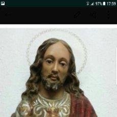 Antigüedades: FIGURO CRISTO OJOS CRISTAL MINIMO 100 AÑOS. Lote 110116315