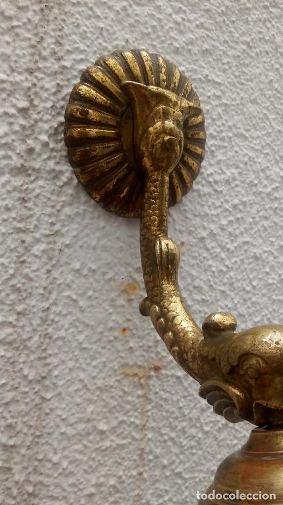 Antigüedades: Aplique bronce tulipa lámpara modernista - Foto 2 - 110119711