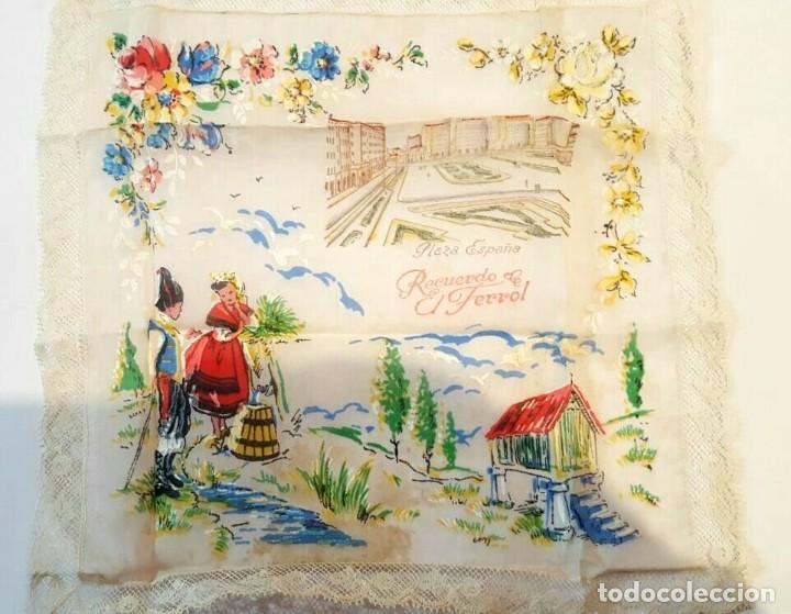 FERROL ANTIGUO PAÑUELO DE SEDA PINTADO (Antigüedades - Moda - Pañuelos Antiguos)