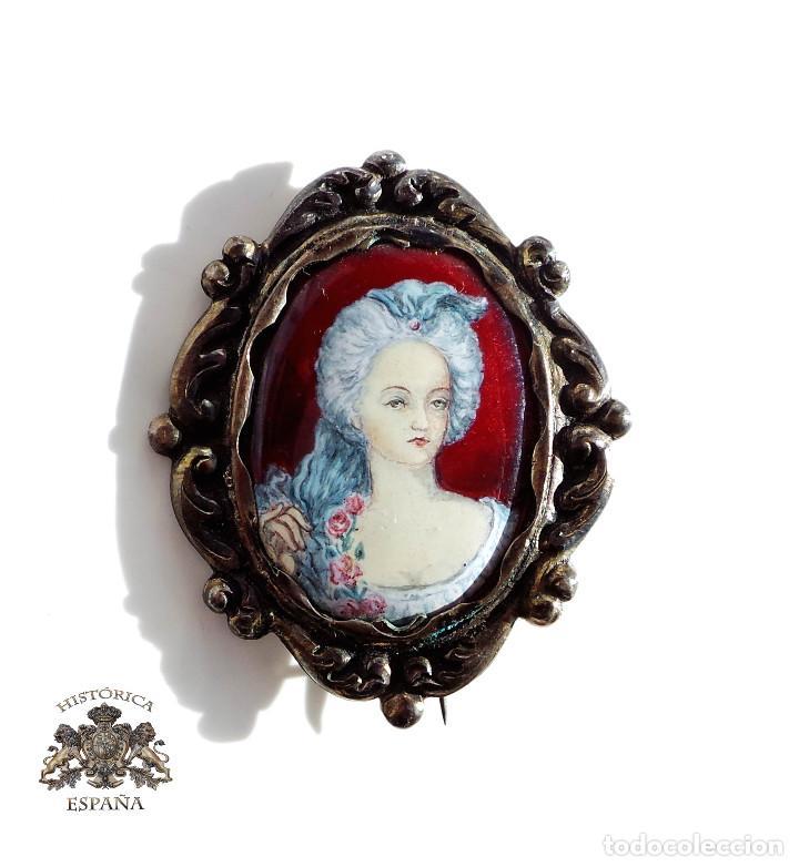 ANTIGUO CAMAFEO PLATA CON CON ESMALTES AL FUEGO S.XIX - 5 CM DE ALTO (Antigüedades - Moda y Complementos - Mujer)