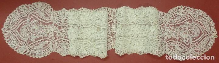 Antigüedades: ANTIGUA CORBATA ENCAJE DE BRUSELAS PUNTO AGUJA - IMAGEN -NOVIA S. XIX - Foto 10 - 110238311