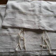 Antigüedades: ANTIGUAS SABANAS DE LINO CON VAINICA. Lote 110250263