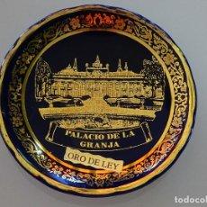 Antigüedades: PLATO RECUERDO SOUVENIR DE CERÁMICA. PALACIO DE LA GRANJA, SEGOVIA. ORO DE LEY. 10 CM. 80 GR. Lote 110262815