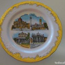 Antigüedades: PLATO RECUERDO SOUVENIR DE CERÁMICA. BASÍLICAS MAYORES DE ROMA, ITALIA. 25 CM. 480 GR. Lote 110263155