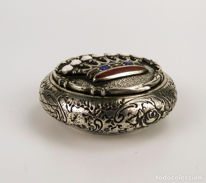 Antigüedades: Antigua cajita de plata y corona de esmalte contraste 800 - Foto 3 - 110269919