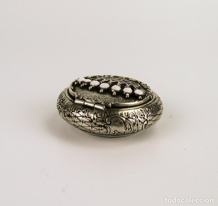 Antigüedades: Antigua cajita de plata y corona de esmalte contraste 800 - Foto 4 - 110269919