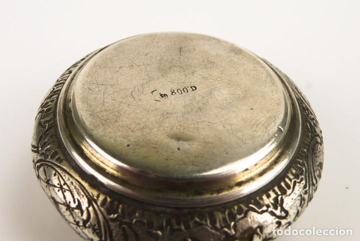 Antigüedades: Antigua cajita de plata y corona de esmalte contraste 800 - Foto 6 - 110269919