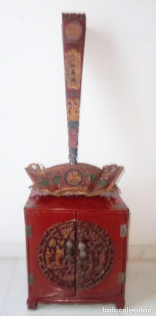 Antigüedades: CONJUNTO ORIENTAL, SIGLO XIX, MUEBLE CABINETE O JOYERO, Y ABANICO CON BASE EN MADERA TALLADA - Foto 14 - 110275495