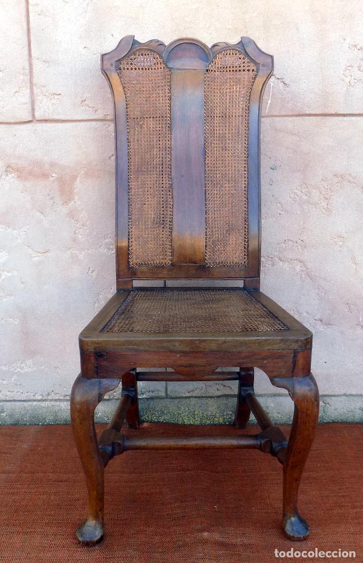 SILLA. REINA ANA, REJILLA. SIGLO XVIII. ROBLE. PERFECTO ESTADO. (Antigüedades - Muebles Antiguos - Sillas Antiguas)