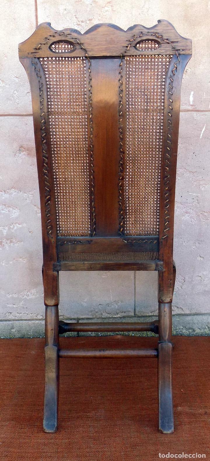 Antigüedades: SILLA. REINA ANA, REJILLA. SIGLO XVIII. ROBLE. PERFECTO ESTADO. - Foto 2 - 110299223