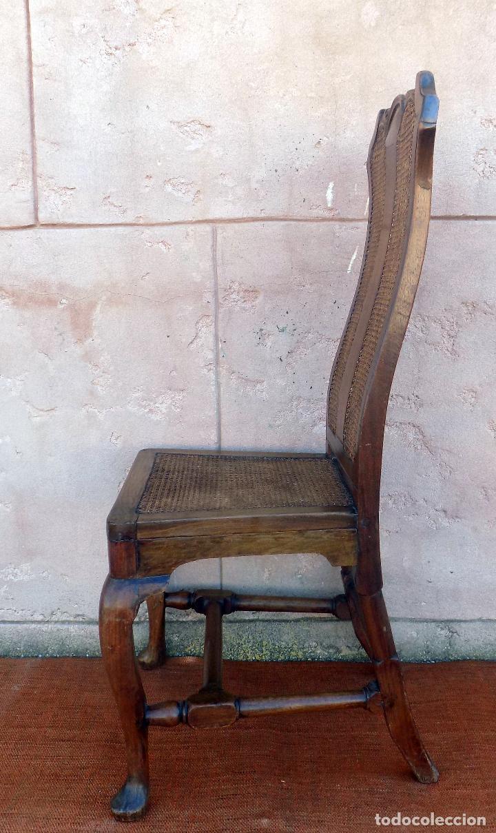 Antigüedades: SILLA. REINA ANA, REJILLA. SIGLO XVIII. ROBLE. PERFECTO ESTADO. - Foto 3 - 110299223