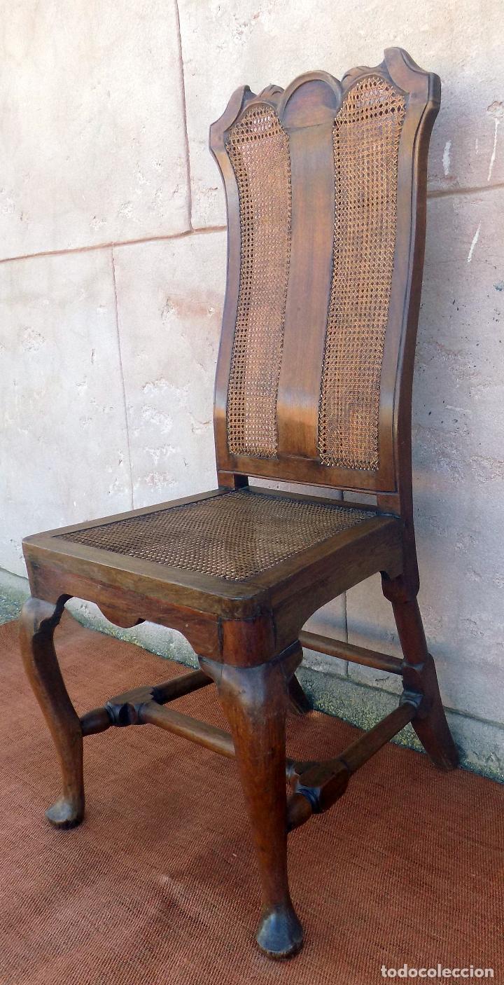 Antigüedades: SILLA. REINA ANA, REJILLA. SIGLO XVIII. ROBLE. PERFECTO ESTADO. - Foto 4 - 110299223