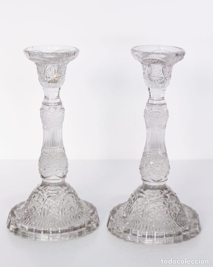 ANTIGUOS CANDELABROS DE CRISTAL 23 CM (Antigüedades - Iluminación - Candelabros Antiguos)