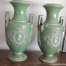 Antigüedades: PAREJA DE JARRONES ESTILO IMPERIO DE CERÁMICA ESMALTADA S.XIX. Lote 110362055