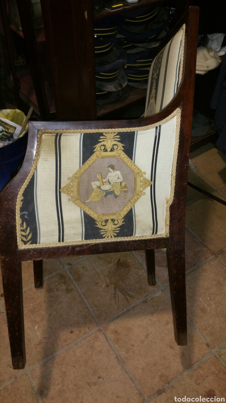 Antigüedades: Sillón estilo y época Carlos cuarto realizado en caoba y limoncillo - Foto 3 - 110372576