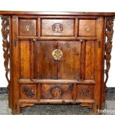 Antigüedades: CONSOLA CHINA DE MADERA DE OLMO. Lote 110375067