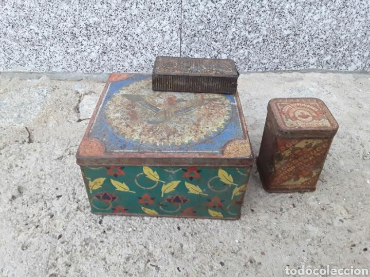 LOTE DE 3 CAJAS ANTIGUAS DE LATA . (Antigüedades - Hogar y Decoración - Cajas Antiguas)