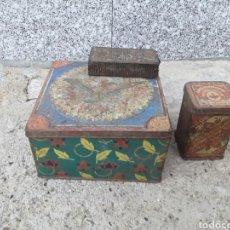 Antigüedades: LOTE DE 3 CAJAS ANTIGUAS DE LATA .. Lote 110404283