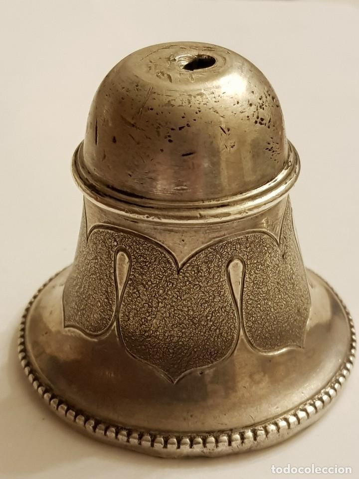 Antigüedades: Campanilla de plata con mango de bronce siglo XVIII-XIX - Foto 3 - 110416771