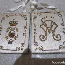 Antigüedades: ESCAPULARIO DE LA ORDEN RELIGIOSA DEL CARMEN, EN TELA. 6 X 8 CMS.. Lote 110456107